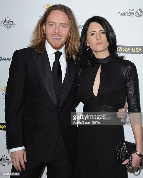 Actor Tim Minchin and wife Sarah Minchin attend the 2014 G'Day USA Los Angeles Black Tie Gala at the JW Marriott Los Angeles at LA LIVE on January 11...
