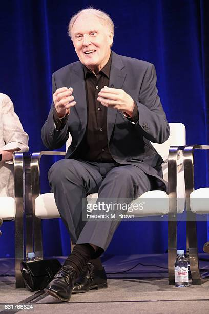 """Actor Tim PigottSmith of '""""King Charles III"""" on MASTERPIECE' speak onstage during the PBS portion of the 2017 Winter Television Critics Association..."""