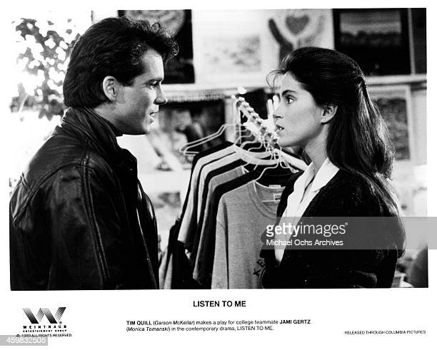 """Actor Tim Quill and actress Jami Gertz on the set of the Columbia Pictures movie """"Listen to Me"""" circa 1989."""