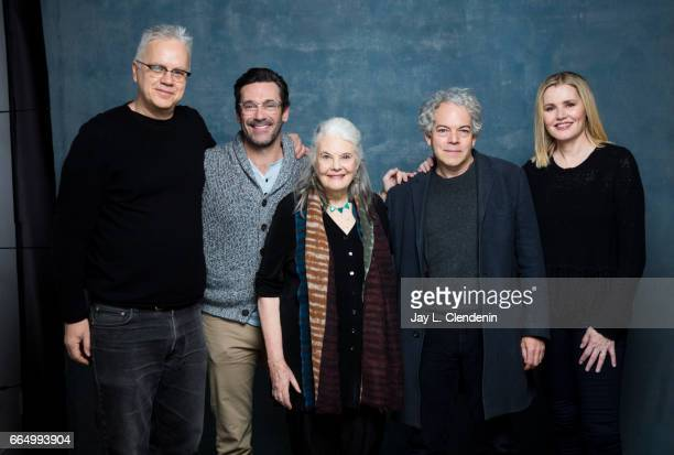 Actor Tim Robbins actor Jon Hamm actress Lois Smith director Michael Almereyda and actress Geena Davis from the film Marjorie Prime are photographed...