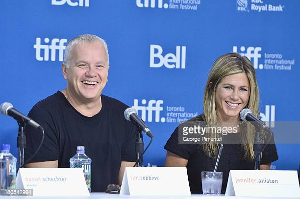 Actor Tim Robbins and actress/producer Jennifer Aniston speak onstage at the 'Life Of Crime' Press Conference during the 2013 Toronto International...