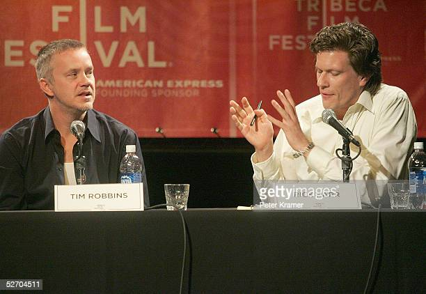 Actor Tim Robbins and moderator Rick Karr speak at 'The Soundtrack' panel part of the Tribeca Talks program during the Tribeca Film Festival April 27...