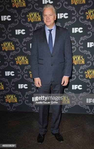 Actor Tim Robbins attends the premiere of IFC's 'The Spoils Of Babylon' at DGA Theater on January 7 2014 in Los Angeles California