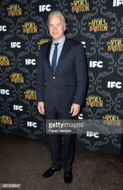 Actor Tim Robbins attends the screening of IFC's 'The Spoils Of Babylon' at DGA Theater on January 7 2014 in Los Angeles California