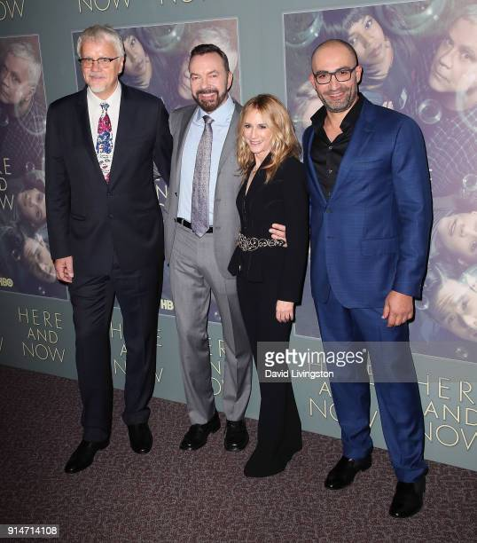 Actor Tim Robbins executive producer Alan Ball actress Holly Hunter and actor/executive producer Peter Macdissi attend the premiere of HBO's 'Here...