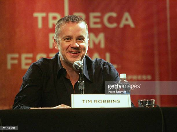 Actor Tim Robbins speaks at 'The Soundtrack' panel part of the Tribeca Talks program during the Tribeca Film Festival April 27 2005 in New York City