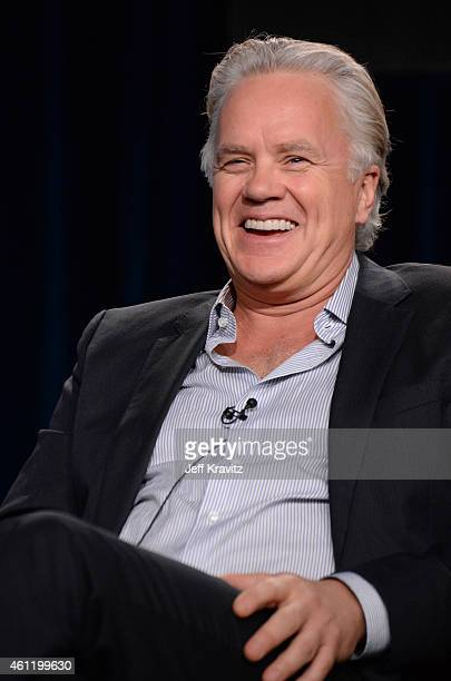 """Actor Tim Robbins speaks onstage during """"The Brink"""" panel as part of the 2015 HBO Winter Television Critics Association press tour at the Langham..."""
