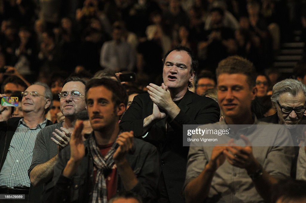 Actor Tim Roth (L) and director Quentin Tarantino attend the closing ceremony of 'Lumiere 2013, Grand Lyon Film Festival' on October 20, 2013 in Lyon, France.