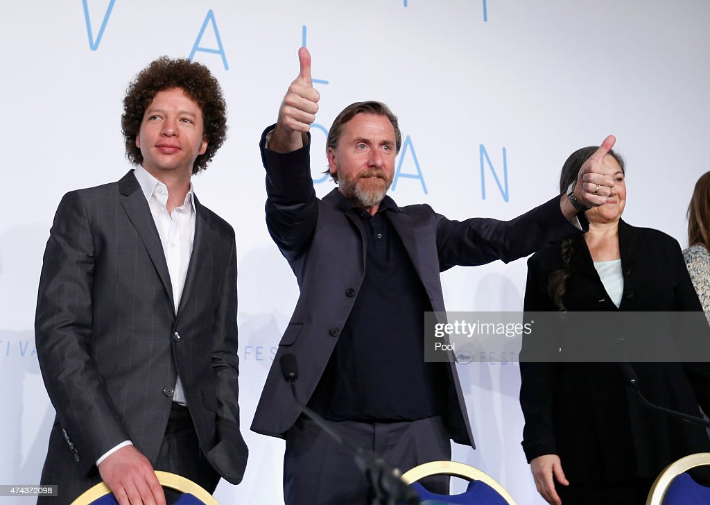 Actor Tim Roth (R) and Michel Franco attend the press conference for 'Chronic' during the 68th annual Cannes Film Festival on May 22, 2015 in Cannes, France.