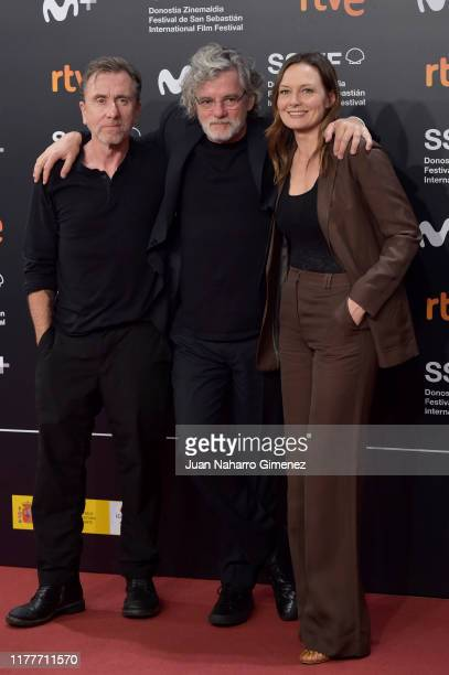 Actor Tim Roth director Francois Girard and actress Catherine McCormack attends the red carpet on the closure day of 67th San Sebastian International...