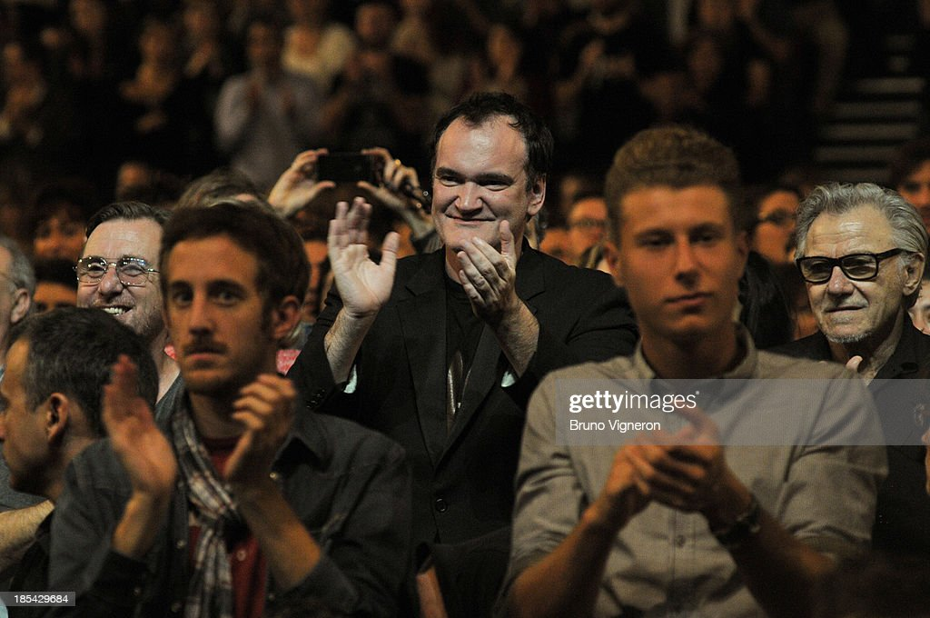 Actor Tim Roth, director Quentin Tarantino and actor Harvey Keitel attend the closing ceremony of 'Lumiere 2013, Grand Lyon Film Festival' on October 20, 2013 in Lyon, France.