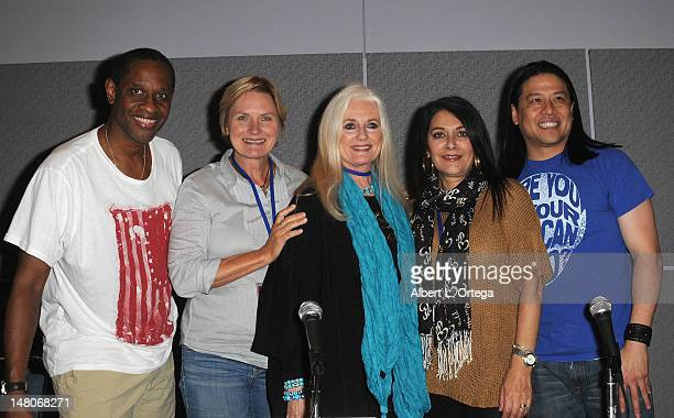 Actor Tim Russ actress Denise Crosby actress Celeste Yarnal actress Marina Sirtis and actor Garrett Wang attend the 1st Annual PopCon LA Pop Culture...