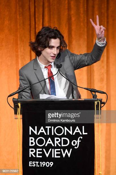 Actor Timothée Chalamet accepts an award onstage during the National Board of Review Annual Awards Gala at Cipriani 42nd Street on January 9 2018 in...