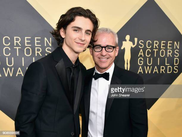 Actor Timothée Chalamet and Jess Cagle attend the 24th Annual Screen Actors Guild Awards at The Shrine Auditorium on January 21 2018 in Los Angeles...