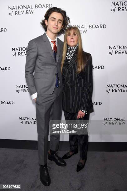 Actor Timothée Chalamet and National Board of Review President Annie Schulhof attend the The National Board Of Review Annual Awards Gala at Cipriani...