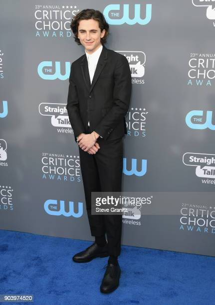 Actor Timothée Chalamet attends The 23rd Annual Critics' Choice Awards at Barker Hangar on January 11 2018 in Santa Monica California