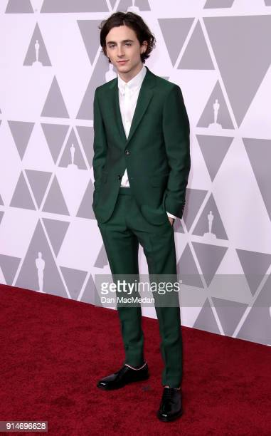 Actor Timothée Chalamet attends the 90th Annual Academy Awards Nominee Luncheon at The Beverly Hilton Hotel on February 5 2018 in Beverly Hills...