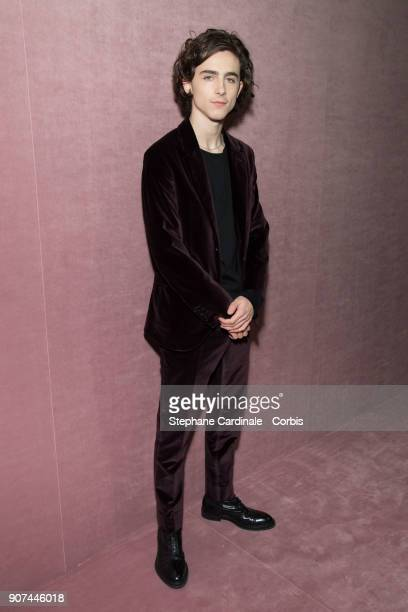Actor Timothee Chamalet attends the Berluti Menswear Fall/Winter 20182019 show as part of Paris Fashion Wee January 19 2018 in Paris France