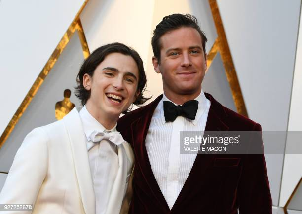 Actor Timothée Chalamet left and Actor Armie Hammer arrive for the 90th Annual Academy Awards on March 4 in Hollywood California / AFP PHOTO /...
