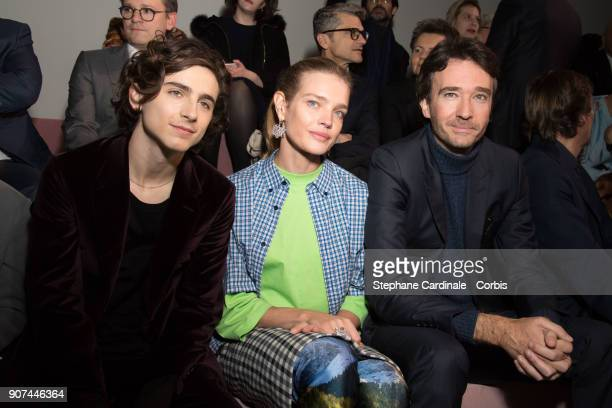 Actor Timothée Chalamet Natalia Vodianova and Antoine Arnault attend the Berluti Menswear Fall/Winter 20182019 show as part of Paris Fashion Wee...