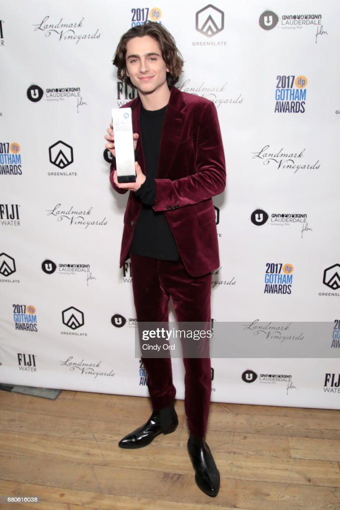 Actor Timothée Chalamet poses with his award backstage during IFP's 27th Annual Gotham Independent Film Awards on November 27, 2017 in New York City.