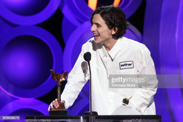 Actor Timothee Chalamet accepts Best Male Lead for 'Call Me by Your Name' onstage during the 2018 Film Independent Spirit Awards on March 3 2018 in...