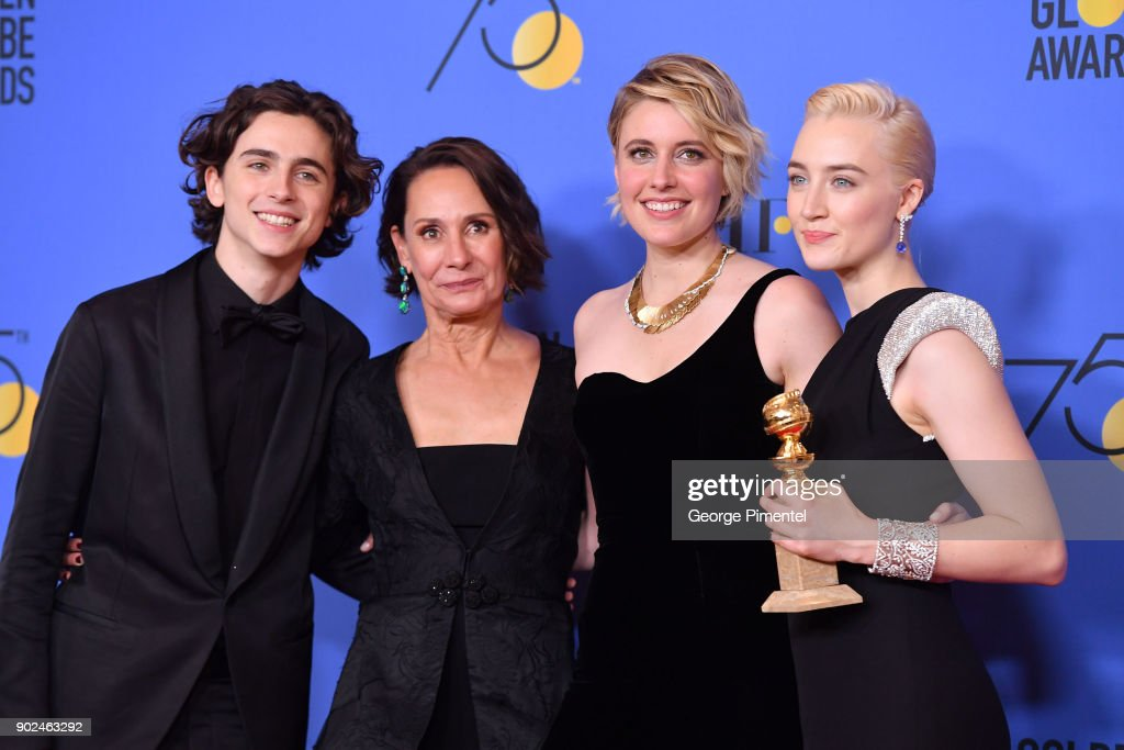 Actor Timothee Chalamet, actor Laurie Metcalf, actor/director Greta Gerwig and actor Saoirse Ronan pose with the award for Best Motion Picture (Musical or Comedy) for 'Lady Bird' poses in the press room during The 75th Annual Golden Globe Awards at The Beverly Hilton Hotel on January 7, 2018 in Beverly Hills, California.