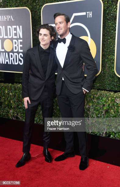 Actor Timothee Chalamet and Armie Hammer attend The 75th Annual Golden Globe Awards at The Beverly Hilton Hotel on January 7 2018 in Beverly Hills...