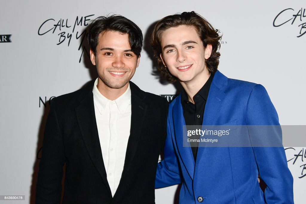 Actor Timothee Chalamet (R) and guest arrive at Nordstrom Supper Suite 'Call Me By Your Name' official premiere after party at STK Toronto on September 7, 2017 in Toronto, Canada.