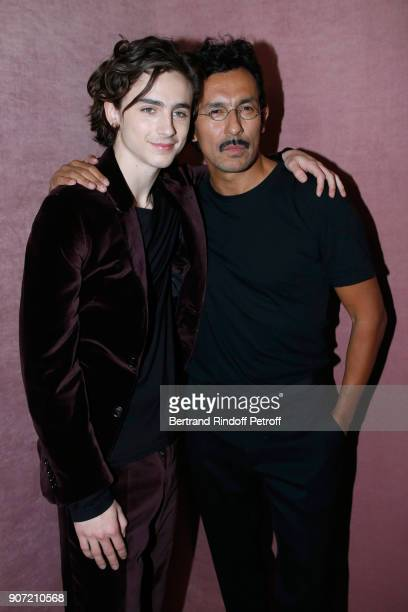 Actor Timothee Chalamet and Stylist of Berluti men Haider Ackermann pose after the Berluti Menswear Fall/Winter 20182019 show as part of Paris...