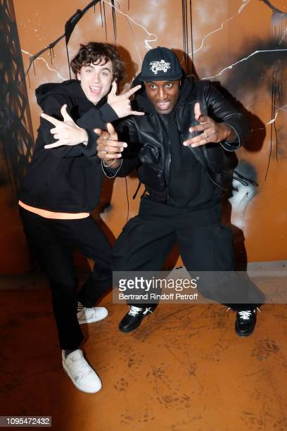 Actor Timothee Chalamet and Stylist Virgil Abloh pose after the Louis Vuitton Menswear Fall/Winter 20192020 show as part of Paris Fashion Week on...