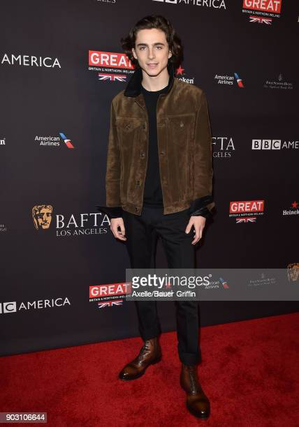 Actor Timothee Chalamet arrives at The BAFTA Los Angeles Tea Party at Four Seasons Hotel Los Angeles at Beverly Hills on January 6 2018 in Los...