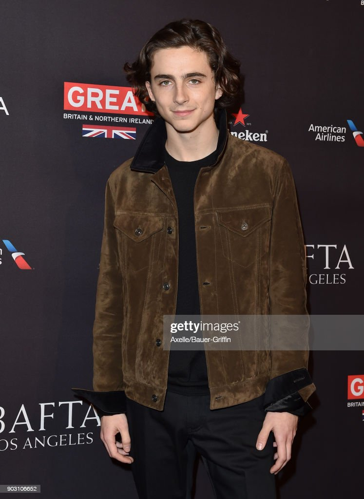 Actor Timothee Chalamet arrives at The BAFTA Los Angeles Tea Party at Four Seasons Hotel Los Angeles at Beverly Hills on January 6, 2018 in Los Angeles, California.