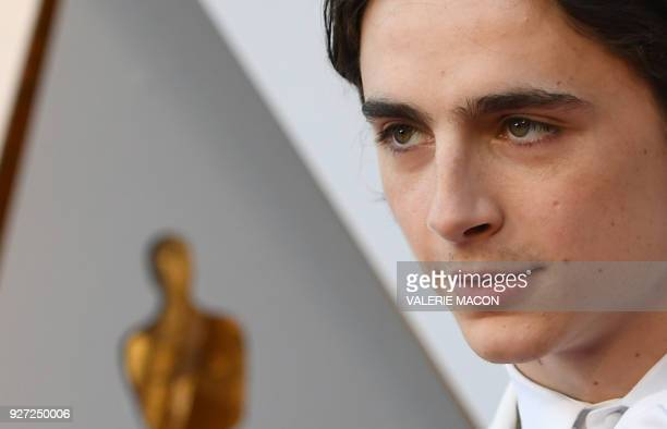 TOPSHOT US actor Timothee Chalamet arrives for the 90th Annual Academy Awards on March 4 in Hollywood California / AFP PHOTO / VALERIE MACON