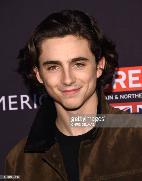 Actor TimotHee Chalamet arrives for the BAFTA Los Angeles Awards Season Tea Party at the Four Season Hotel in Beverly Hills California on January 6...