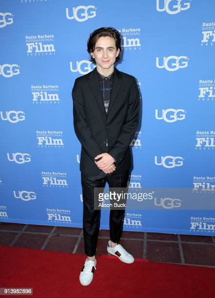 Actor Timothee Chalamet at the Virtuosos Award Presented By UGG during The 33rd Santa Barbara International Film Festival at Arlington Theatre on...