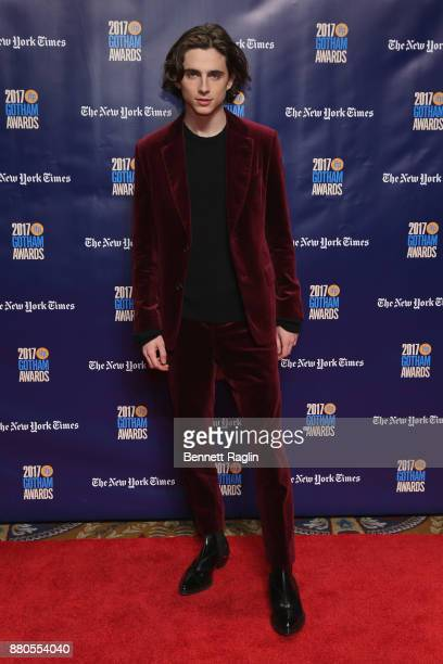 Actor Timothee Chalamet attends the 2017 Gotham Awards sponsored by Greater Ft Lauderdale Tourism at Cipriani Wall Street on November 27 2017 in New...