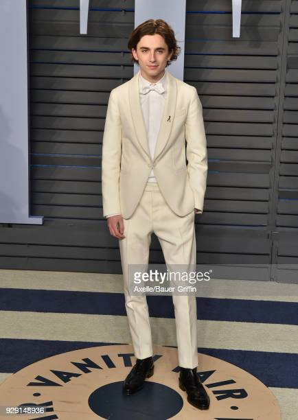 Actor Timothee Chalamet attends the 2018 Vanity Fair Oscar Party hosted by Radhika Jones at Wallis Annenberg Center for the Performing Arts on March...