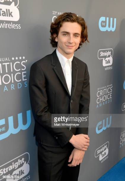 Actor Timothee Chalamet attends The 23rd Annual Critics' Choice Awards at Barker Hangar on January 11 2018 in Santa Monica California