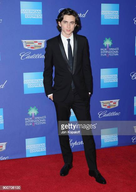Actor Timothee Chalamet attends the 29th Annual Palm Springs International Film Festival Awards Gala at Palm Springs Convention Center on January 2...