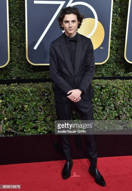 Actor Timothee Chalamet attends the 75th Annual Golden Globe Awards at The Beverly Hilton Hotel on January 7 2018 in Beverly Hills California
