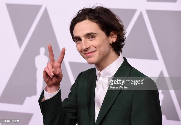 Actor Timothee Chalamet attends the 90th Annual Academy Awards Nominee Luncheon at The Beverly Hilton Hotel on February 5 2018 in Beverly Hills...