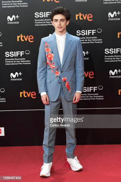 Actor Timothee Chalamet attends the 'Beautiful Boy' premiere during the 66th San Sebastian International Film Festival on September 24 2018 in San...