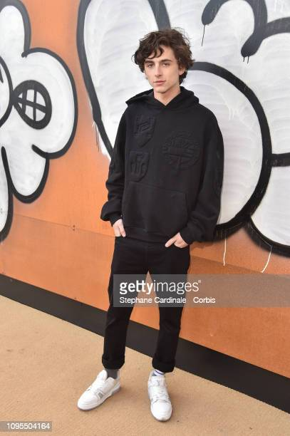 Actor Timothee Chalamet attends the Louis Vuitton Menswear Fall/Winter 2019/2020 show as part of Paris Fashion Week on January 17 2019 in Paris France