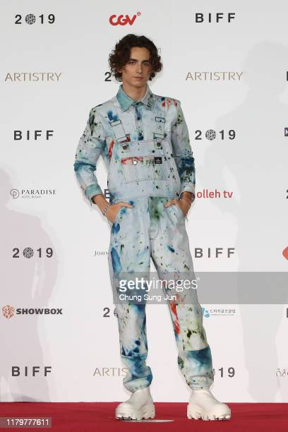 Actor Timothee Chalamet attends the photo call at the red carpet for the 'The King' at the Busan Cinema Center during the day six of the 24th Busan...