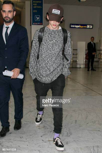 Actor Timothee Chalamet is seen during the 71st annual Cannes Film Festival at Nice Airport on May 11 2018 in Nice France