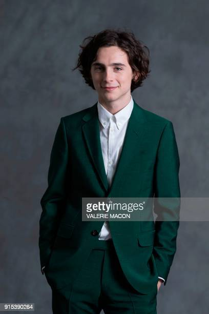Actor Timothee Chalamet poses for portraits during the Academy Awards annual nominees luncheon for the 90th Oscars at the Beverly Hilton California...