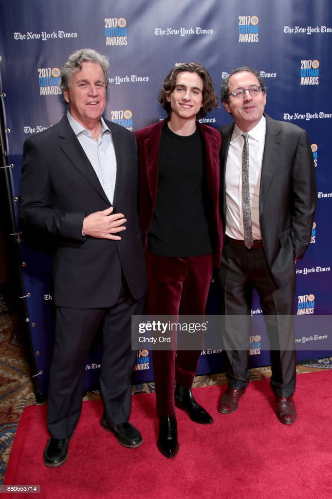 Actor Timothee Chalamet (C) poses with Co-Founders of Sony Pictures Tom Bernard (L) and Michael Barker (R) attends IFP's 27th Annual Gotham Independent Film Awards on November 27, 2017 in New York City.