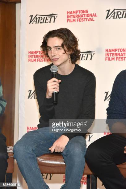 Actor Timothee Chalamet speaks during Winick Talk Variety's 10 Actors To Watch photo call at Rowdy Hall during Hamptons International Film Festival...