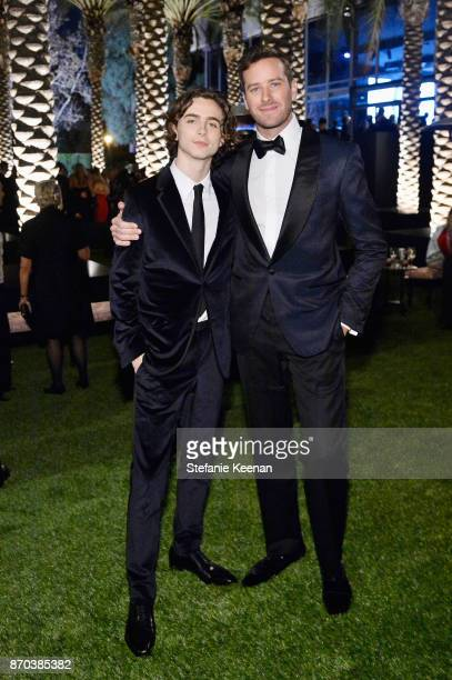 Actor Timothee Chalamet wearing Gucci and actor Armie Hammer attend the 2017 LACMA Art Film Gala Honoring Mark Bradford and George Lucas presented by...
